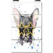 DesignArt 'Black French Bulldog w/ Stars' 4 Piece Painting Print on Canvas Set
