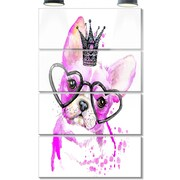 DesignArt 'Cute Pink Dog w/ Heart Glasses' 4 Piece Graphic Art on Canvas Set