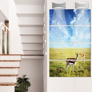 DesignArt 'Antelopes Wandering Under Bright Sky' 4 Piece Photographic Print on Canvas Set
