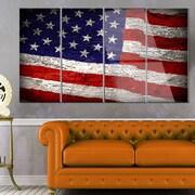 DesignArt 'Large American Flag Watercolor' 4 Piece Photographic Print on Canvas Set