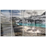DesignArt 'Mountain Creek Under Cloudy Sky' 4 Piece Graphic Art on Canvas Set