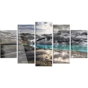 DesignArt 'Mountain Creek Under Cloudy Sky' 5 Piece Graphic Art on Canvas Set