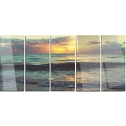 DesignArt 'Colorful Bluish Waters at Sunset' 5 Piece Photographic Print on Canvas Set