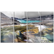 DesignArt 'Mountain Creek Flowing into Lake' 4 Piece Photographic Print on Canvas Set