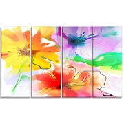 DesignArt 'Bunch of Colorful Flowers Sketch' 4 Piece Painting Print on Canvas Set