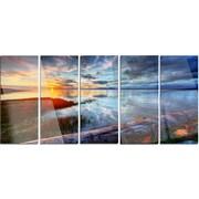 DesignArt 'Colorful River Sunset w/ Log' 5 Piece Photographic Print on Canvas Set