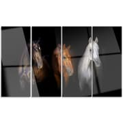DesignArt 'Black Red and White Horses' 4 Piece Graphic Art on Canvas Set