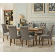 Roundhill Furniture Habitanian Solid Wood 7 Piece Dining Set; Gray