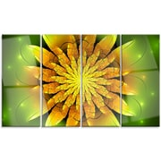 DesignArt 'Bright Yellow Fractal Flower on Green' 4 Piece Graphic Art on Canvas Set