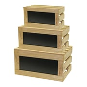 Tablecraft 3 Piece Chalkboard Wood Crate Set by