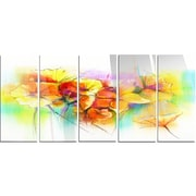 DesignArt 'Bright Yellow Gerbera and Daisies' 5 Piece Painting Print on Canvas Set