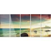 DesignArt 'Colorful Seashore w/ Rocky Beach' 5 Piece Photographic Print on Canvas Set