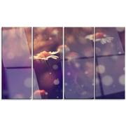 DesignArt 'Cute Vintage Flower w/ Bokeh' 4 Piece Photographic Print on Canvas Set