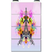DesignArt 'Bright Eiffel Tower Cartoon' 4 Piece Graphic Art on Canvas Set