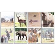 DesignArt 'Rich African Wildlife Collage' 4 Piece Photographic Print on Canvas Set