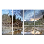 DesignArt 'Peaceful Evening at Mountain Creek' 4 Piece Photographic Print on Canvas Set