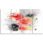 DesignArt 'Red Black Abstract Floral Design' 4 Piece Painting Print on Canvas Set