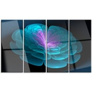 DesignArt 'Abstract Blue Floral Fractal Background' 4 Piece Graphic Art on Canvas Set