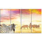 DesignArt 'Cute Zebras Grazing in Grassland' 4 Piece Photographic Print on Canvas Set