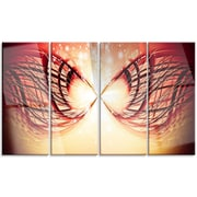 DesignArt 'Bright Light on Red Fractal Design' 4 Piece Graphic Art on Canvas Set