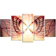 DesignArt 'Bright Light on Red Fractal Design' 5 Piece Graphic Art on Canvas Set