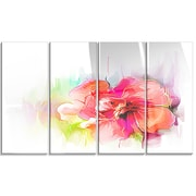 DesignArt 'Beautiful Red Floral Watercolor' 4 Piece Painting Print on Canvas Set
