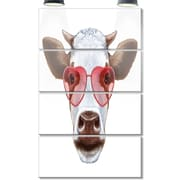 DesignArt 'Cow w/ Red Heart Glasses' 4 Piece Graphic Art on Canvas Set