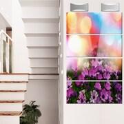 DesignArt 'Purple Flowers on Colorful Background' 4 Piece Photographic Print on Canvas Set