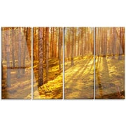 DesignArt 'Beautiful Sunrays in Thick Forest' 4 Piece Photographic Print on Canvas Set