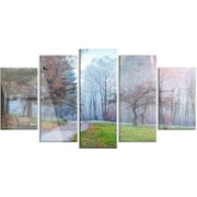 DesignArt 'Bright Sun Over Autumn Trees' 5 Piece Photographic Print on Canvas Set