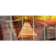 DesignArt 'Beautiful Footbridge in Golden Light' 5 Piece Photographic Print on Canvas Set
