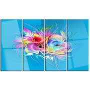 DesignArt 'Summer Colorful Flowers on Blue' 4 Piece Graphic Art on Canvas Set