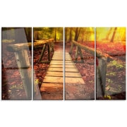 DesignArt 'Beautiful Footbridge in Golden Light' 4 Piece Photographic Print on Canvas Set