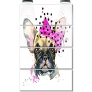 DesignArt 'Fashionable French Bulldog' 4 Piece Graphic Art on Canvas Set