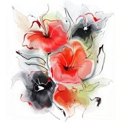 DesignArt 'Red Black Abstract Floral Design' Graphic Art on Metal; 12'' H x 28'' W x 1'' D