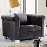 Meridian Furniture USA Kayla Arm Chair; Gray