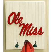 HensonMetalWorks Collegiate Logo Wood Coat Rack; University of Mississippi