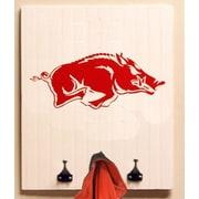HensonMetalWorks Collegiate Logo Wood Coat Rack; University of Arkansas