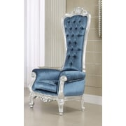 A&J Homes Studio Raven Royal Chesterfield Chair; Blue/Silver