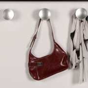 Kate and Laurel Nolyn Decorative Wood Oversized Doorknobs 3 Piece Wall Hook; Silver