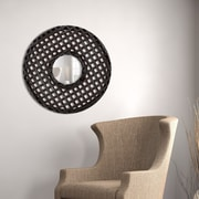 Majestic Mirror Traditional Circular Wenge Framed Beveled Glass Wall Mirror