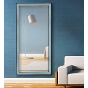 Majestic Mirror Textured Glass Rectangular Wood Framed Wall Mirror