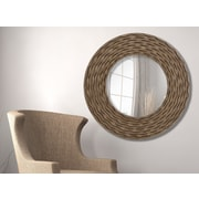 Majestic Mirror Circular Textured Framed Wall Mirror