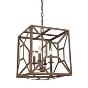 Laurel Foundry Modern Farmhouse Zeeland 4 Light Candle-Style Chandelier; Weathered Iron