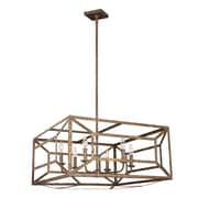 Laurel Foundry Modern Farmhouse Zeeland 6 Light Candle-Style Chandelier; Distressed Goldleaf