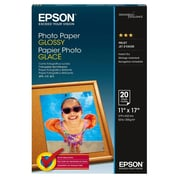 "Epson  Glossy Photo Paper, 11"" x 17"", White, 20/Pack (S041156)"