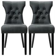 Belleze Elegant Tufted Design Faux Leather Upholstered Parsons Chair (Set of 2); Black