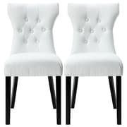 Belleze Elegant Tufted Design Faux Leather Upholstered Parsons Chair (Set of 2); White
