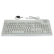 Seal Shield™ SSWKSV207L Silver Seal™ ABS Plastic Wired Waterproof QWERTY Keyboard for Windows/Mac, White