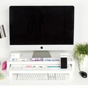 Kate and Laurel Briggs Wood Desktop Organizer Monitor Bridge; White